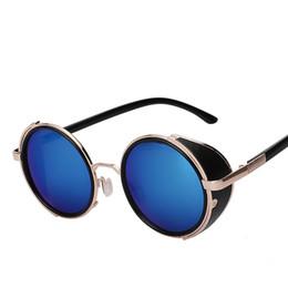 2019 occhiali da sole rotondi steampunk Occhiali da sole AOXUE Occhiali da sole Steampunk Occhiale da sole Retro Vintage Round Metal Wrap Sunglasses Brand Designer Sun Eyewear occhiali da sole rotondi steampunk economici