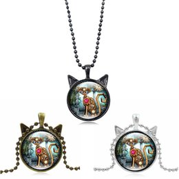 Wholesale friends sweater - Vintage Machine Cat Clock Time Gem Stone Necklace Animal Pendant Kitty Charm Sweater Chain Gift For Best Friend Lovers Free DHL D599S
