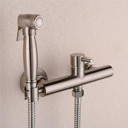 Wholesale handheld shower sets - Brass Nickel Toilet Bidet Spray Hot & Cold Mixer Valve with Hose, Handheld Bidet , Portable Hand Held Bidet Shower Set