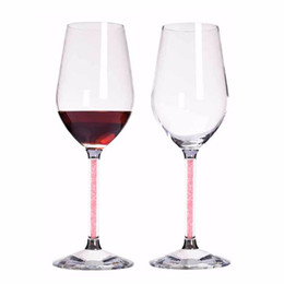 Wholesale Wedding Souvenir Wine - 470ML Goblet Wine Glass Unique Colorful Acrylic Gold Rhinestones Style Perfect Lovers Special Gifts Wedding Souvenir