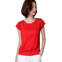 Женские белые блузки короткий рукав онлайн-Office Shirts Blouses Women White Balck Red Elegant Ladies Chiffon Blouse Short Sleeve Womens Tops Chemise Femme Plus Size