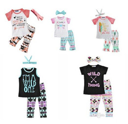 Wholesale Baby Girls Tshirts - 2018 Girls Baby Childrens Clothing Set Letters tshirts Pants Headbands 3Pcs Set Fashion Summer Girl Kids Tops Suits Boutique Clothes Outfits