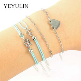 1061e7849945 4 piezas color plata forma de corazón pulsera de cadena ajustable azul  cuerda de cera barco ancla brazalete para amigo   familia exquisito regalo