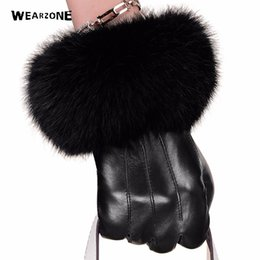 Wholesale men s brown leather gloves - Winter black sheepskin Mittens Leather Gloves For Women Rabbit Fur Wrist Top Sheepskin Gloves Black Warm Female Driving
