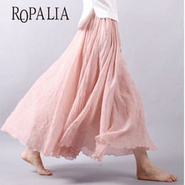 Wholesale Linen Cotton Skirts - Wholesale- Summer Women Long Skirts Linen Cotton Elastic Waist Pleated Maxi Skirts Beach Boho Vintage Skirts