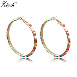 Wholesale Beads For Hoop Earrings - Ztech Round Earrings Fashion Jewelry Bohemia Beads Wholesale 6 Colors Large Circle Statement Hoop Earrings For Women Gift
