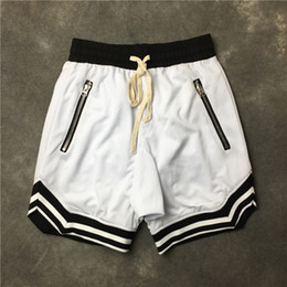Wholesale White Stockings Cotton - 2018 FOG Justin Bieber Top quality black green red Blue Men shorts Hip hop Striped zipper drawstring sweat Casual shorts S-XXL in stock