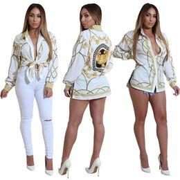 büroklubkleidung Rabatt 2018 Mode Gold Kette Frauen Shirts Langarm Sexy Damen Tops Büro Club Party Blusen Umlegekragen Weibliches Hemd Kleidung