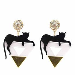 Wholesale Earring Big Triangle - Triangle Cat Leopard Head Earrings Gold Color Big Punk Style Rock Earrings for Women Hip Hop Acrylic Gold Earrings Wholesale
