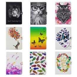 cat ipad cases Rebajas Flower Butterfly Leather para Apple iPad Mini 1 2 3 7.9 pulgadas, Ipad 2 3 4, 5 6 Air 2 9.7 '' PU Lion Cat Owl Cartera de la cartera Funda de la tarjeta Funda de la piel