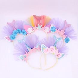 Venda de la sirena de las muchachas online-Cute Baby Girls Accesorios para el cabello hermoso polvo de oro Mermaid Party Headband