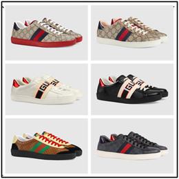 28b722c2a36 chaussures brodées pour femmes Promotion 2018 Véritable Cuir Meilleure  Qualité ACE brodé blanc serpent designer chaussures