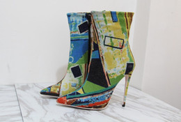 Wholesale Cowboy Footwear - Women Ankle Boots Leater Prints Female Fashion Runway Boots Ladies Footwear Cat Show Women Martin Booties Spring High Heeled Women Pumps