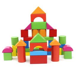 Brinquedos de madeira velha on-line-40 PCS blocos de madeira do bebê brinquedos 1-6 anos de idade menina ou menino brinquedos blocos tijolos para o presente do bebê atacado educacional pai-filho brinquedos