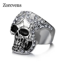 Wholesale Skulls Punk Rock Rings - whole saleZORCVENS Vintage Europe Skull Ring Party King Men Ring Rock Punk Horrible Ghost Stainless Steel Metal Halloween Undead Decoratio
