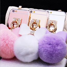 Canada 3D doux en peluche lapin queue queue peluche peluches jouets queue de fourrure avec corde avec strass Clear TPU miroir Pom téléphone cas pour iPhoneX 8plus Offre
