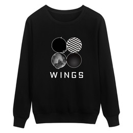 korean winter sweatshirt Promo Codes - Wholesale- BTS Kpop Sweatshirt Women Korean Popual Bangtan Boys Autumn Winter BTS Women Hoodies Sweatshirts Wings Hip Hop Casual Clothes