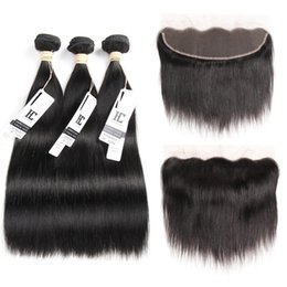 Wholesale Double Weft Weave Straight - 8A Mink Brazilian Straight Hair 13x4 Lace Frontal Closure with Bundles Non-Remy Human Hair with Ear to Ear Lace Frontal Closure Free Part