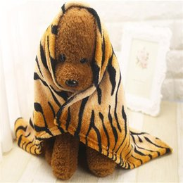 Wholesale Pet Flannels - Wholesale-Fashion Striped Bath Towel Dog Cat Cleaning Necessary Puppy Drying Towel Soft Flannel Blanket Washrag For Pet Dog+Fast Delivery