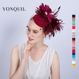 Wholesale hat pirates - NEW ARRIVAL multiple colors kentucky sinamay fascinators with feather derby Occasion church hats bridal wedding party headpieces