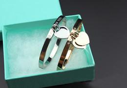 Logos halloween en Ligne-Marque de luxe Titanium acier rose or bracelets or amour braceletbangle pour femme bijoux double coeur bracelet femmes avec logo boîte