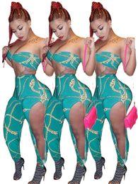2019 vestido de discoteca Sexy boate duas peças terno cadeia clássico impresso oco out calças terno vestido sexy roupa de duas peças NB3-025 vestido de discoteca barato