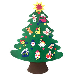 Wholesale door gift for christmas - Door Wall Hanging Non-Woven Christmas Tree DIY Ornaments Set Kids Toys Christmas Decorations For Home New Year Gifts Navidad