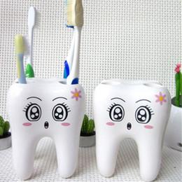 Soporte de orificio online-Titular de cepillo de dientes de dibujos animados dientes estilo 4 agujero soporte del cepillo de dientes estante accesorios de baño conjuntos soporte contenedor DDA526