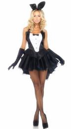 Uniforme feminino preto sexy on-line-Frete Grátis New sexy lingerie cosplay Feminino Preto Traje Do Coelho Do Traje Do Coelho Traje Mágico Halloween Uniforme Uniforme Jogo