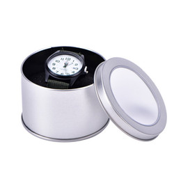Stilvolle lagerung online-Storage Watch Winder Jewelry Nice Sponge Round Organiser Chic Practical Silver Case Tin Display Gift Box Stylish