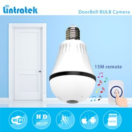 Wholesale Wireless Outdoor Cctv - lintratek 960P 1.3mp 360 degree Doorbell Bulb VR Panoramic Camera E27 LED Light Wireless Wifi Home Doorbell Security IP Camera mini CCTV