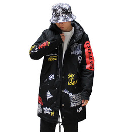 Wholesale dovetail coat men - Winter Men New Windproof Dovetail jackets Graffiti Print Hooded Wadded Coats Street Hip Hop Long padded Thick Parkas Outerwear