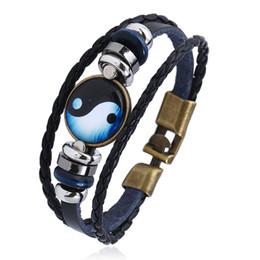 CHAOMO nueva hebilla de descuento chismes pulsera hecha a mano yin y yang joyería de cuero de aleación personalizada creativa mano cuerda desde fabricantes
