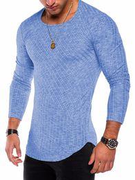 2019 chemises sport ajustées Hommes 2018 Courbe Hem Côtes Patchwork T-shirt Mâle Rayé Coton Slim Tight Fit Chemise Hommes Casual Plein Manches Printemps Automne T-shirts chemises sport ajustées pas cher