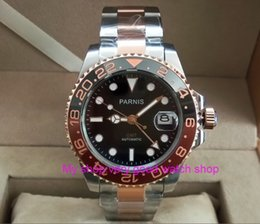 хрустальная окантовка Скидка 40mm  Sapphire Crystal GMT Automatic machinery movement luminous men's watches Rotate bezel pa37-p8
