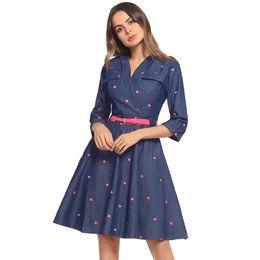 Wholesale Girls Dolman - Cute Fashion girl Dress 2018 Spring and summer Women's sexy V-neck Dress Love embroidery Sleeve Denim skirt