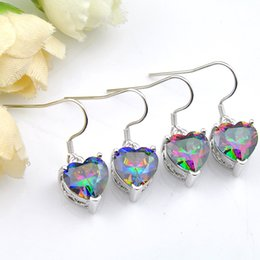 Wholesale Pair Heart - Free And Fast Shipping--5 Pair lot Holiday Gift 925 Sterling Silver mystic stone Heart earrings Russia American Australia Wedding earring