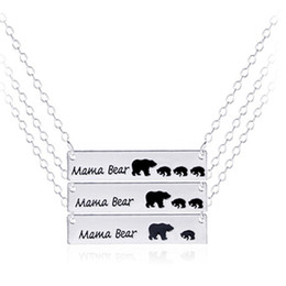Wholesale Kids Animal Necklaces - Mama Bear Animal Pendant Necklace Gold Silver Love Necklace Mom & kid Alloy Necklace Jewelry For Gift