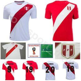 Men Soccer Peru Jersey 9 GUERRERO 10 FARFAN 20 FLORES Football Shirt Kits 2018  World Cup 7 HURTADO 8 CUEVA National Team Home Red Away White 91816070a