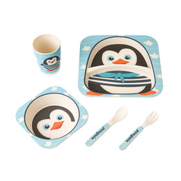 Wholesale Utensils For Baby - cartoon baby dishes bamboo fiber sub grid plates creative irregular children tableware for infant toddler kids feeding utensils