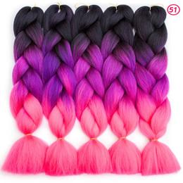2019 coiffures de cheveux d'ombre Ombre Tresses Synthétiques Cheveux 24 Pouces 100g / Pack Synthétique Jumbo Tresses cheveux Ombre Crochet Tressage Extensions de Cheveux Coiffure Africaine