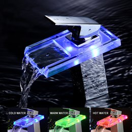 Wholesale changing basin taps - YAOPENG Bathroom 3LED Color Changing waterfall tap Basin copper Faucet basin hot and cold water mixer Vanity Sink Mixer Taps