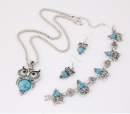 Wholesale Tibetan Owl Necklace - Brand Design Owl Jewelry Set Tibetan Vintage Silver Synthetic Stone Pendant Owl Necklace Earring Bracelet Set
