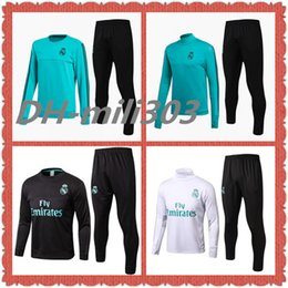 Wholesale Training Soccer Uniforms - Top quality 2017 2018 real madrid soccer training suits Uniforms shirts 17 18 football tracksuit Survetement long sleeve real madrid set kit