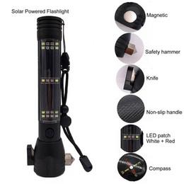 led-scheinwerfer fernschalter Rabatt 10 in 1 multifunktions Solar Power LED Taschenlampe Auto Window Breaker Werkzeuge Outdoor Camping Wandern Überleben Notfall Taschenlampe