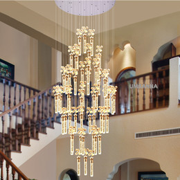 Wholesale Vintage Bubble Lamp - LED Modern Crystal Chandelier Bubble Bar American Chandeliers Lights Fixture Big Long Stair Hanging Lights Home Indoor Lighting LED Lamps