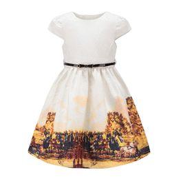 Vestido jacquard amarillo online-Vestido de fiesta floral de las muchachas tamaño 3 ~ 12 Princesa otoño amarillo patrón de granja vestidos para niños Jacquard diseño de la tela bastante ropa de alta calidad