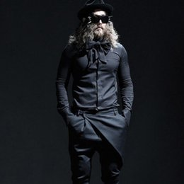 2019 trajes góticos Preto branco bowknot cachecol colarinho dos homens camisa boate DJ cantor stage stage gothic punk hip hop slim fit blusa roupas coreano trajes góticos barato