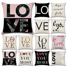 Wholesale Letter Cushion Covers - 2018 Valentine's Day Gift Cushion Cover Throw Pillow LOVE Home Decorative Pillow Case Love Letter Pillow Case