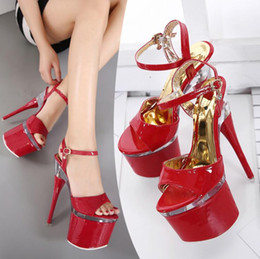 Wholesale High Heels Pole - Women Summer Sexy Catwalk Model Pole Dance On The Crystal Platform 18CM Extreme Thin High Heels Sandals womens Pumps Shoes